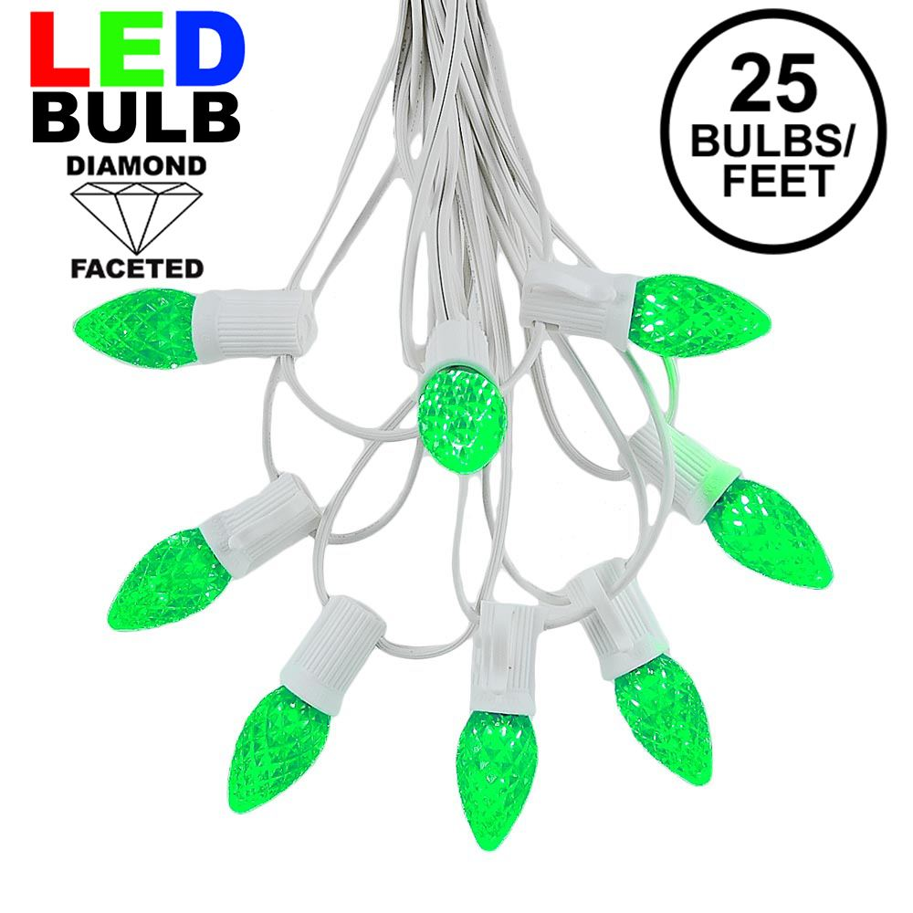 Picture of 25 Light String Set with Green LED C7 Bulbs on White Wire
