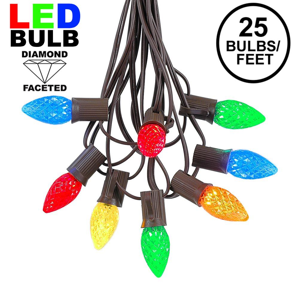 Picture of 25 Light String Set with Multi Colored LED C7 Bulbs on Brown Wire