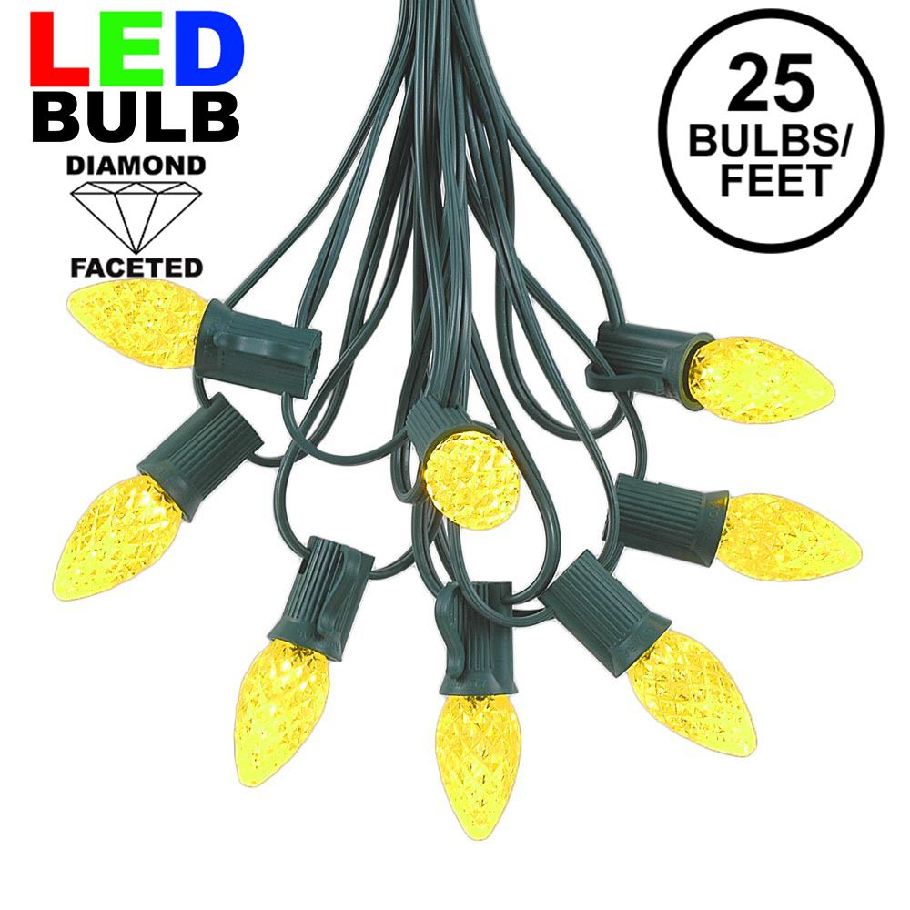 Picture of 25 Light String Set with Yellow/Gold LED C7 Bulbs on Green Wire