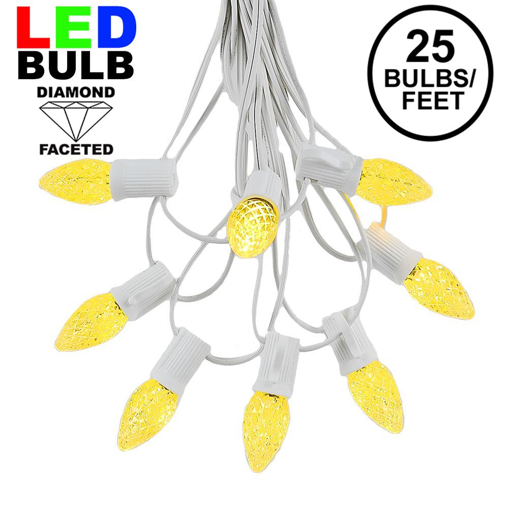 Picture of 25 Light String Set with Yellow/Gold LED C7 Bulbs on White Wire