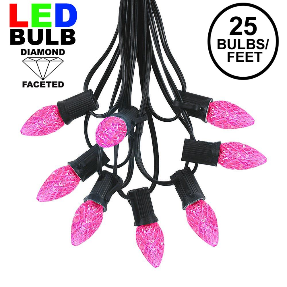 Picture of 25 Light String Set with Pink LED C7 Bulbs on Black Wire