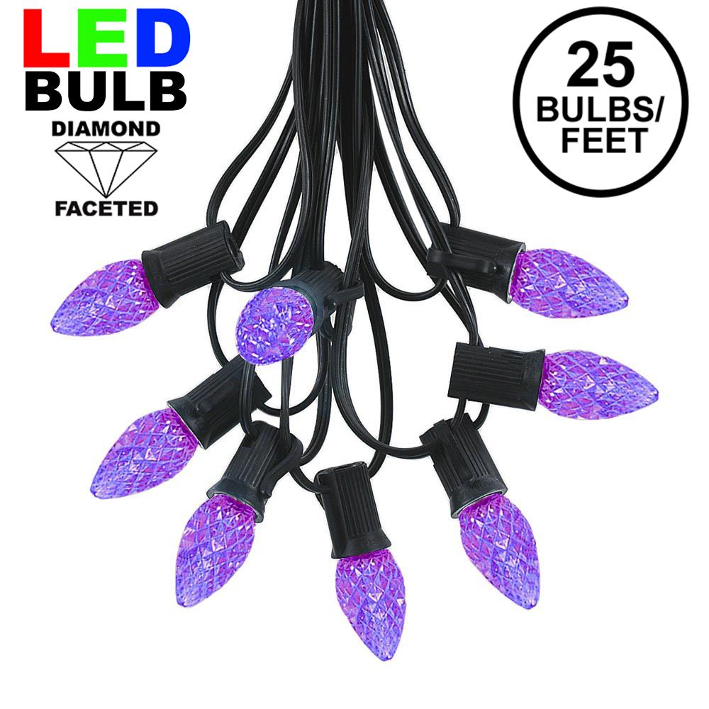 Picture of 25 Light String Set with Purple LED C7 Bulbs on Black Wire