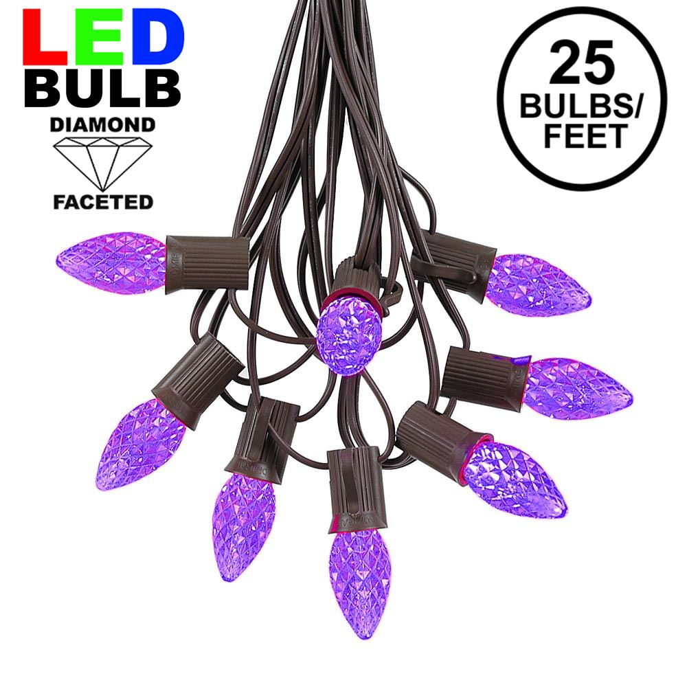 Picture of 25 Light String Set with Purple LED C7 Bulbs on Brown Wire