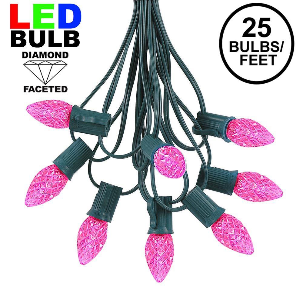 Picture of 25 Light String Set with Pink LED C7 Bulbs on Green Wire