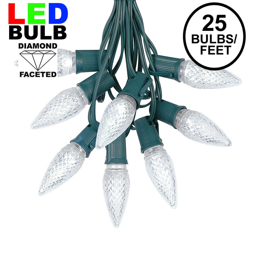 Picture of 25 Light String Set with Pure White LED C9 Bulbs on Green Wire