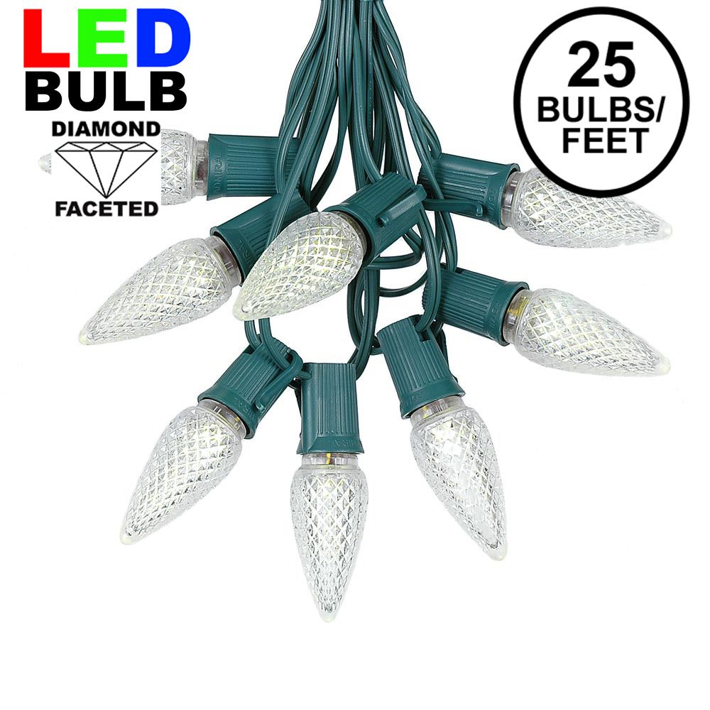 Picture of 25 Light String Set with Warm White LED C9 Bulbs on Green Wire