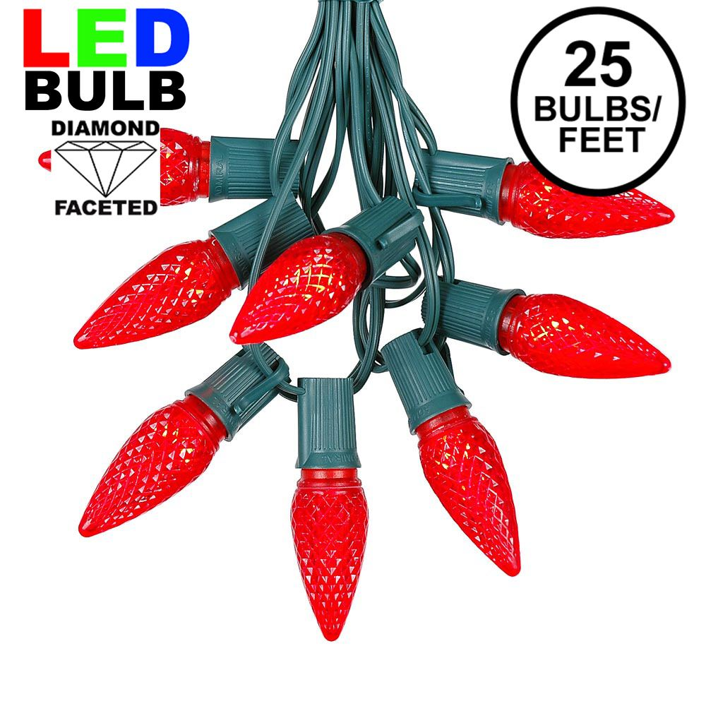 Picture of 25 Light String Set with Red LED C9 Bulbs on Green Wire