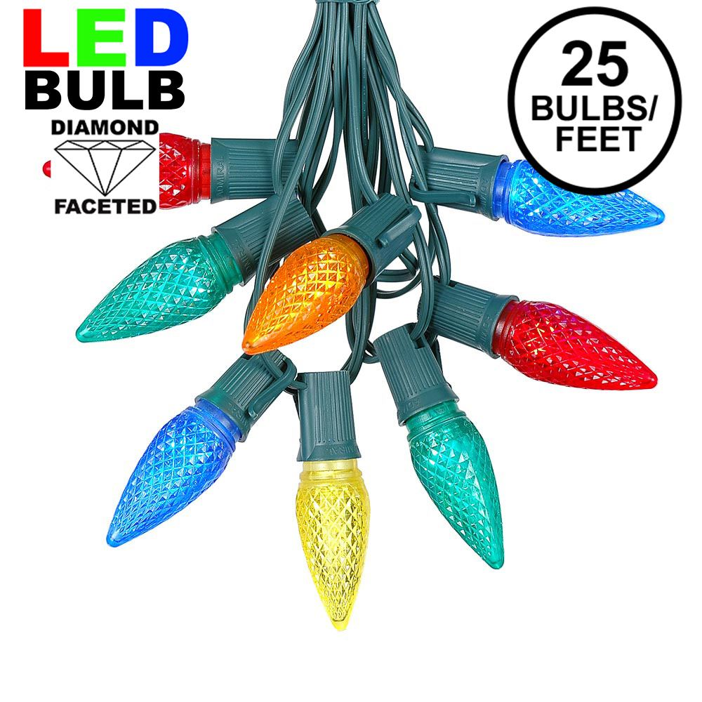 Picture of 25 Light String Set with Multi Colored LED C9 Bulbs on Green Wire