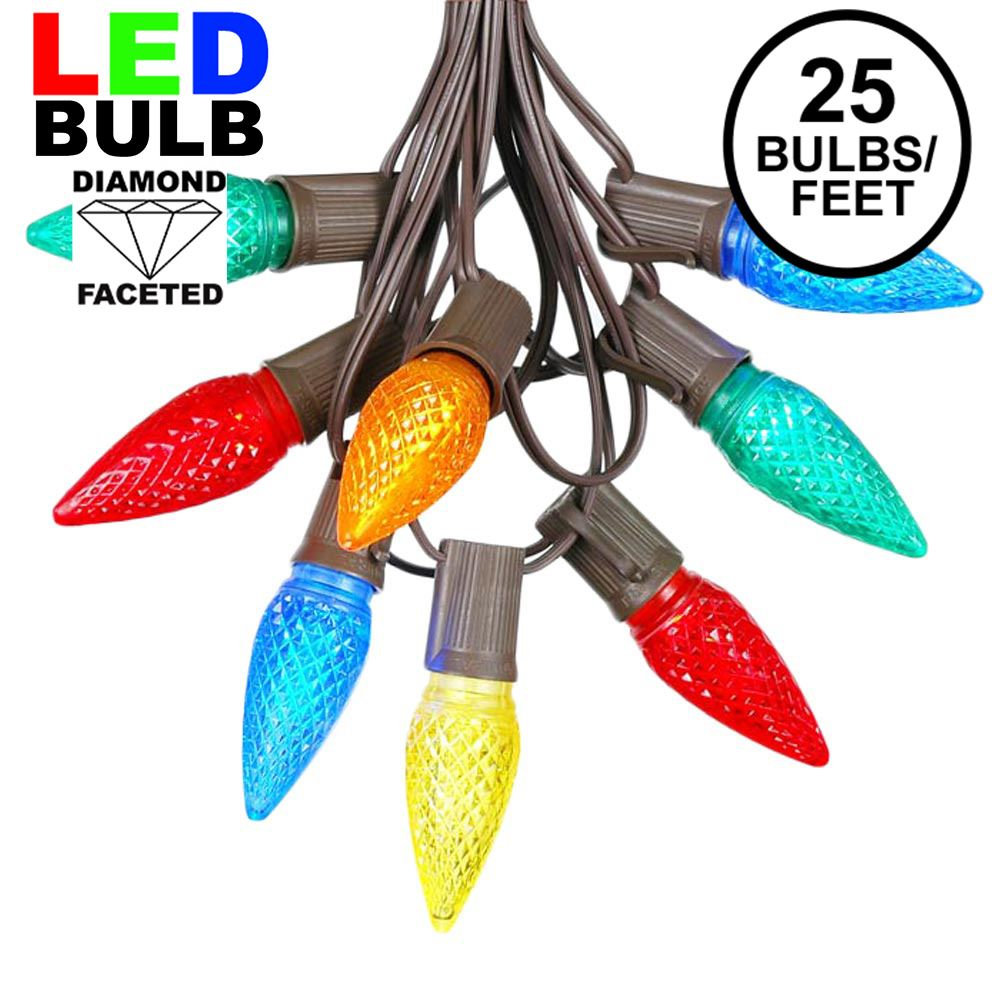 Picture of 25 Light String Set with Multi Colored LED C9 Bulbs on Brown Wire