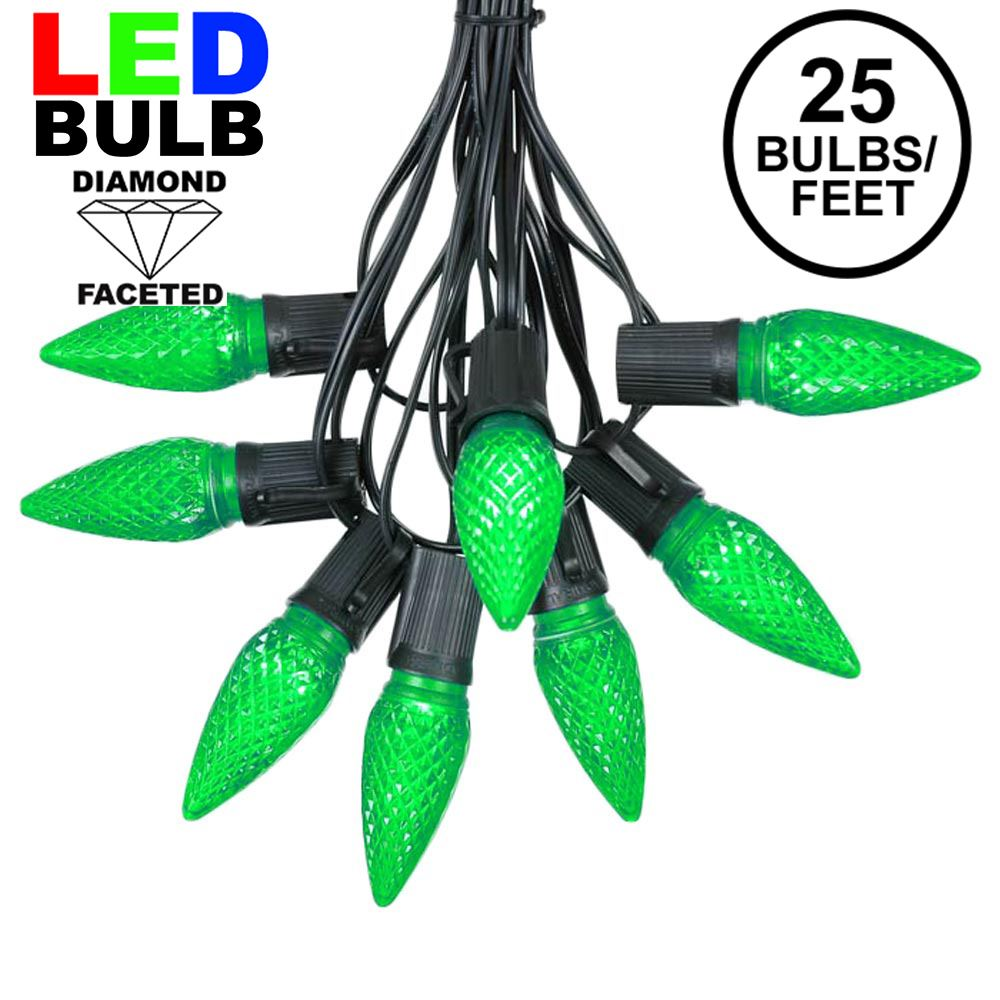 Picture of 25 Light String Set with Green LED C9 Bulbs on Black Wire