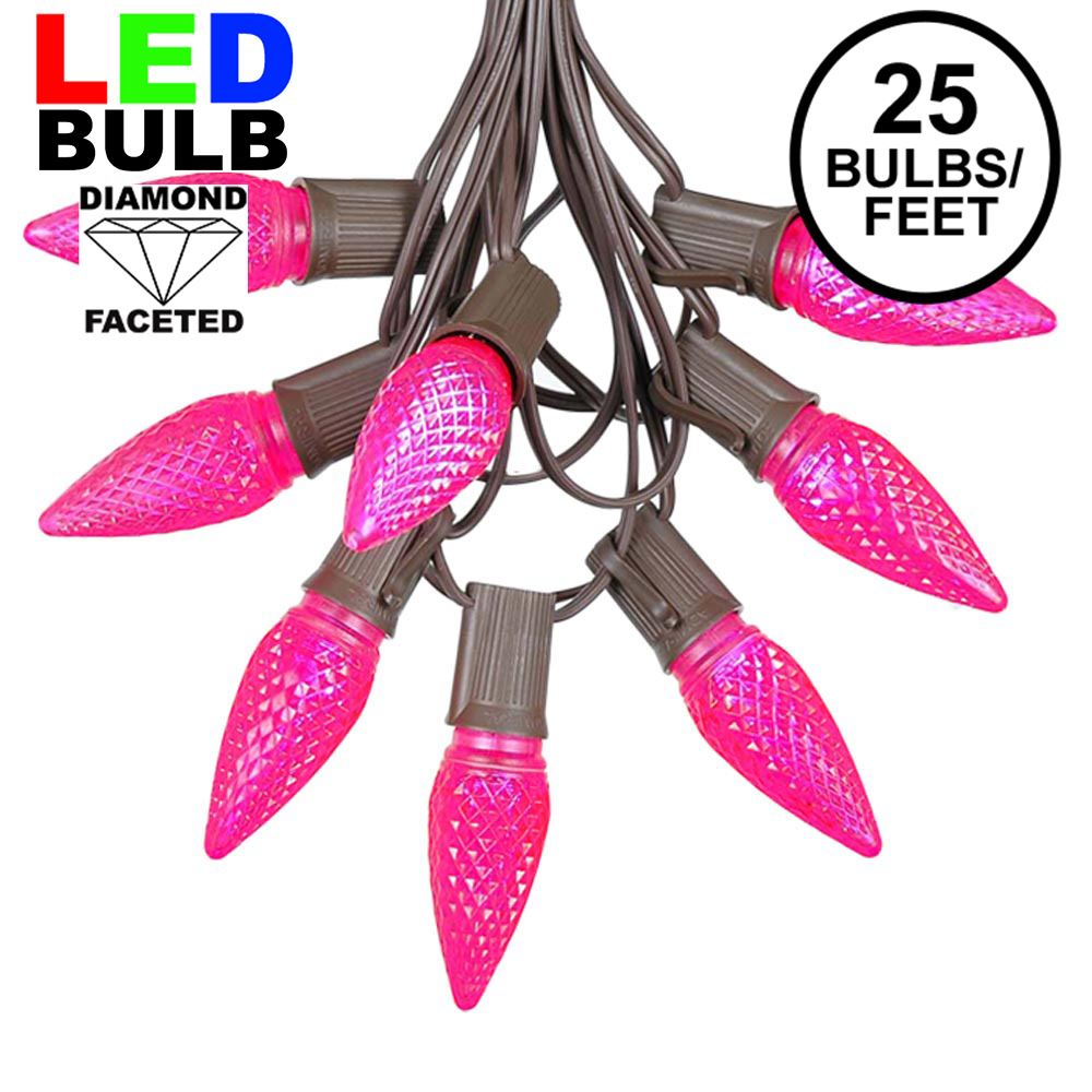 Picture of 25 Light String Set with Pink LED C9 Bulbs on Brown Wire