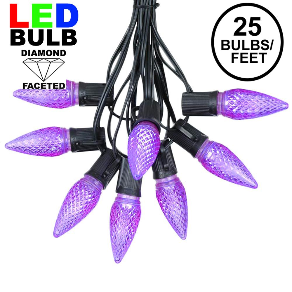Picture of 25 Light String Set with Purple LED C9 Bulbs on Black Wire