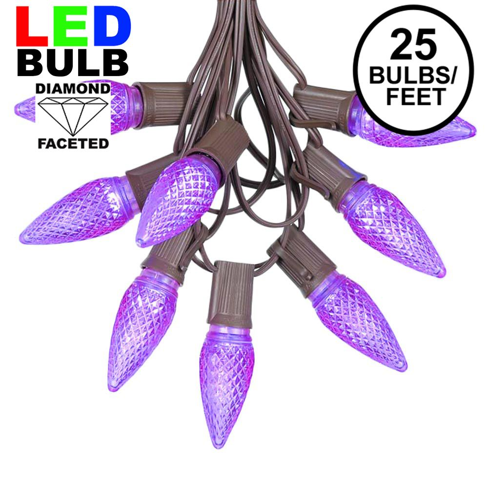 Picture of 25 Light String Set with Purple LED C9 Bulbs on Brown Wire