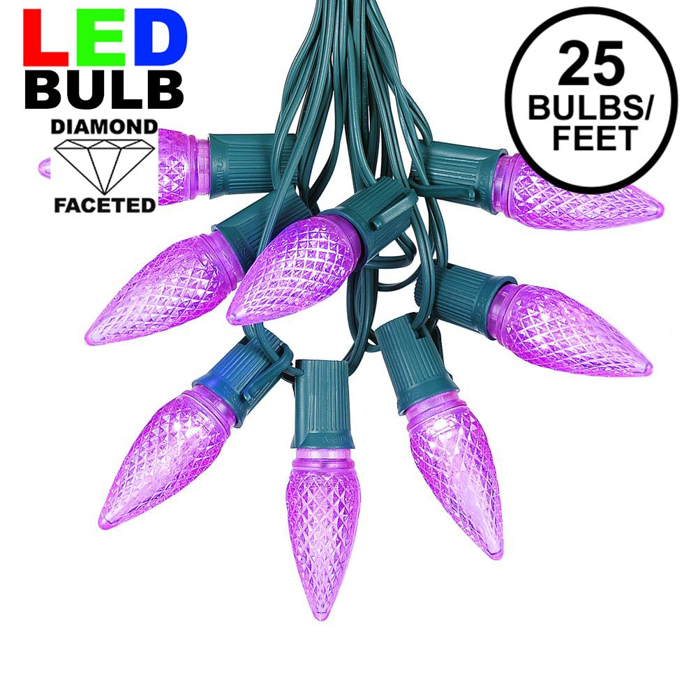Picture of 25 Light String Set with Purple LED C9 Bulbs on Green Wire