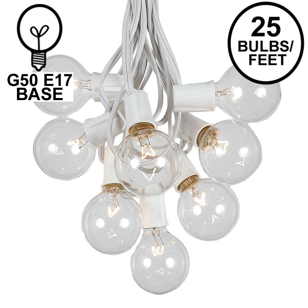 Picture of 25 G50 Globe Light String Set with Clear Bulbs on White Wire