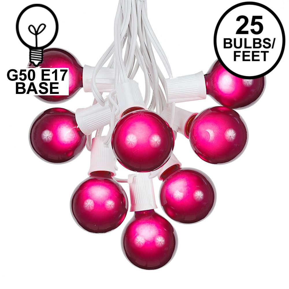 Picture of 25 G50 Globe Light String Set with Purple Bulbs on White Wire
