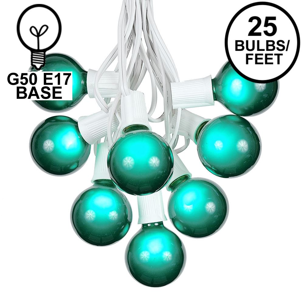 Picture of 25 G50 Globe Light String Set with Green Bulbs on White Wire