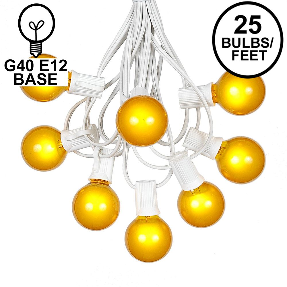 Picture of 25 G40 Globe String Light Set with Yellow Satin Bulbs on White Wire