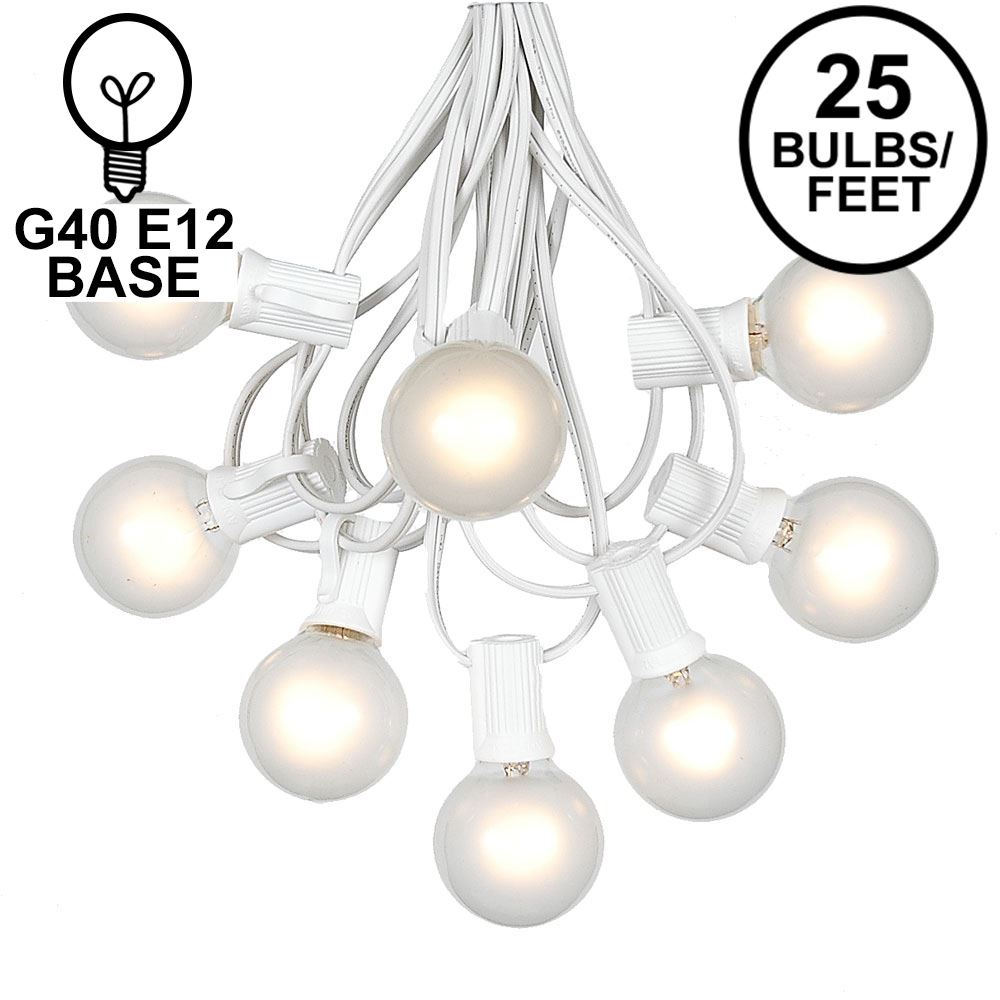 Picture of 25 G40 Globe String Light Set with Frosted White Bulbs on White Wire