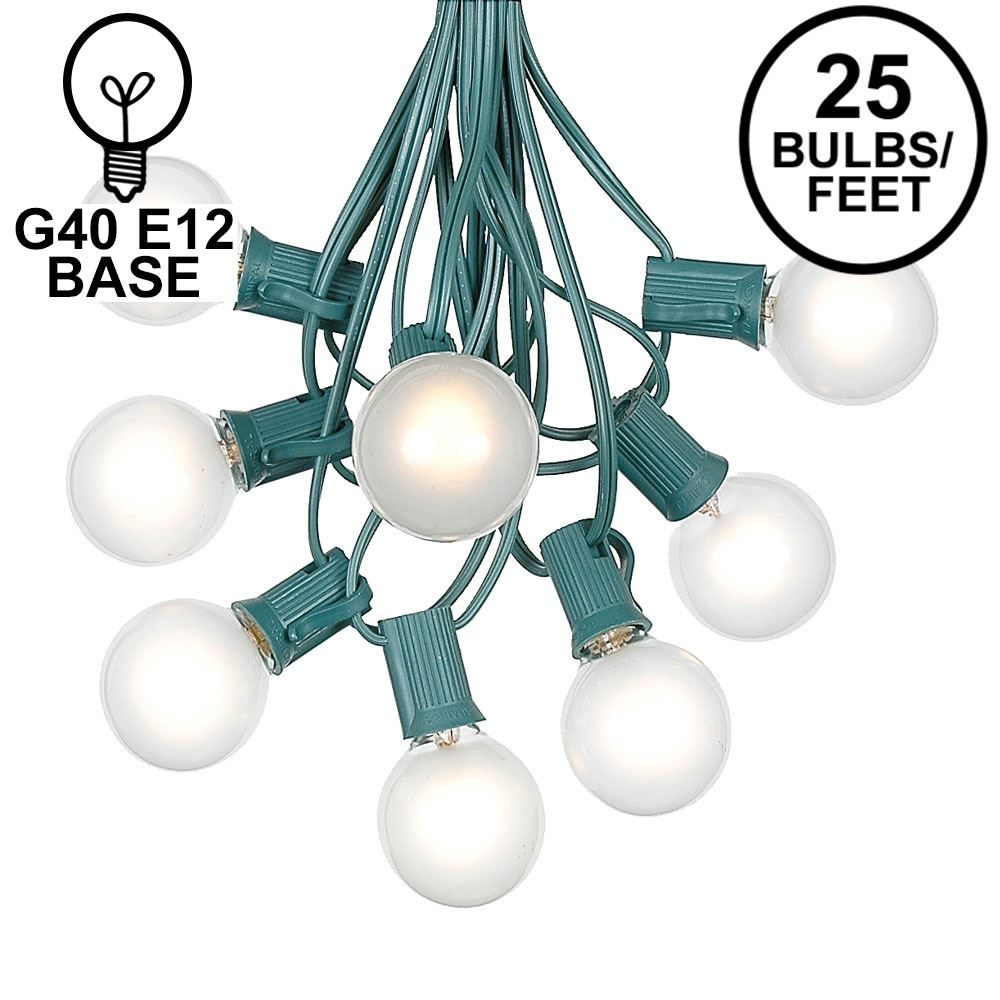 Picture of 25 G40 Globe String Light Set with Frosted Bulbs on Green Wire