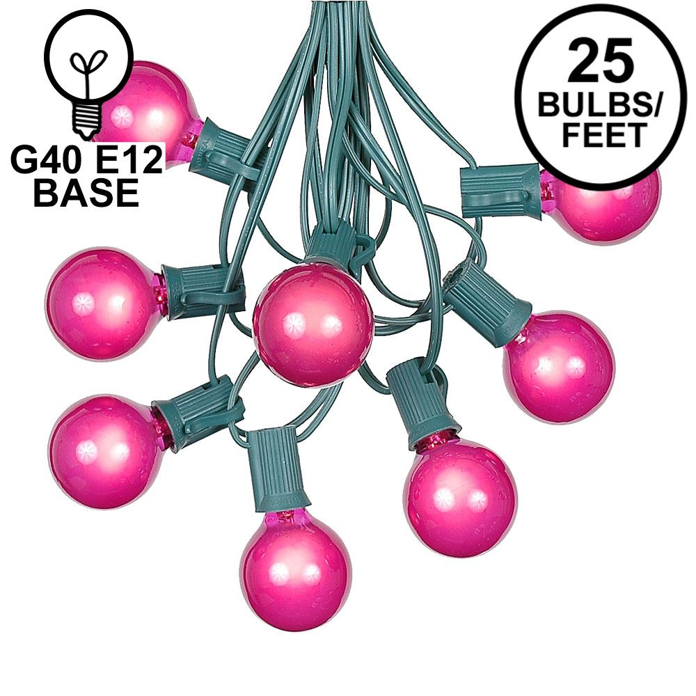 Picture of 25 G40 Globe String Light Set with Pink Satin Bulbs on Green Wire