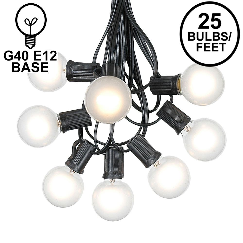 Picture of 25 G40 Globe String Light Set with Frosted White Bulbs on Black Wire