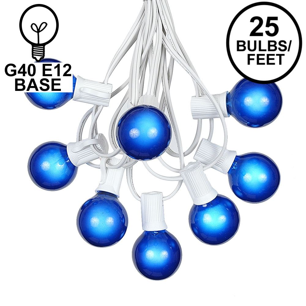 Picture of 25 G40 Globe String Light Set with Blue Satin Bulbs on White Wire