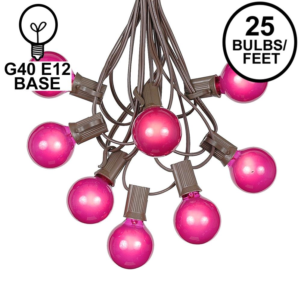 Picture of 25 G40 Globe String Light Set with Pink Satin Bulbs on Brown Wire