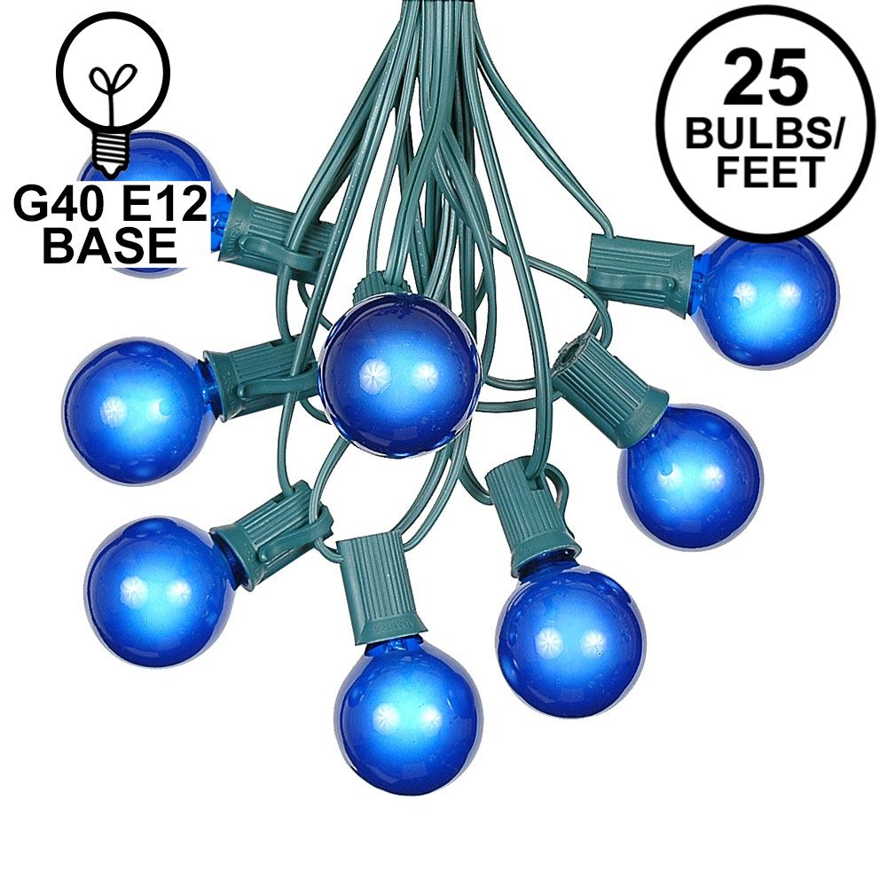 Picture of 25 G40 Globe String Light Set with Blue Satin Bulbs on Green Wire