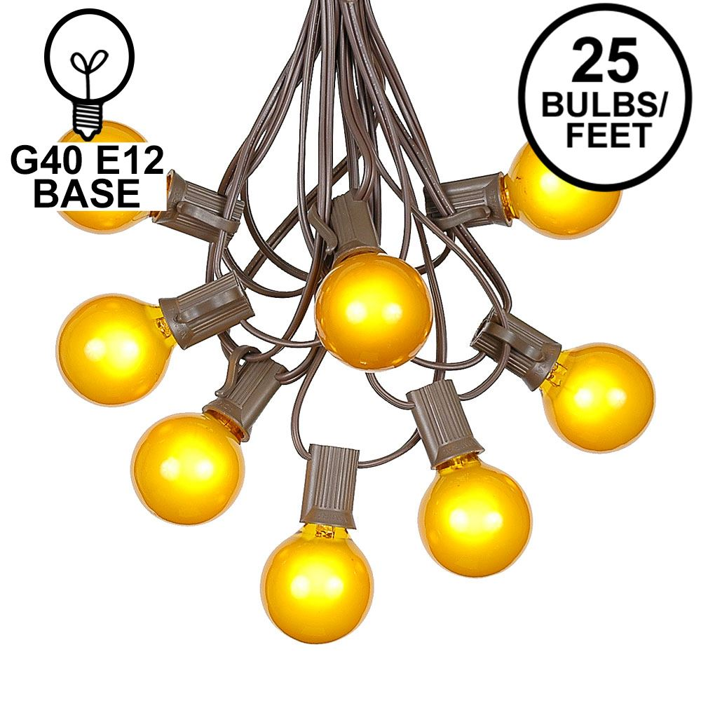 Picture of 25 G40 Globe String Light Set with Yellow Satin Bulbs on Brown Wire