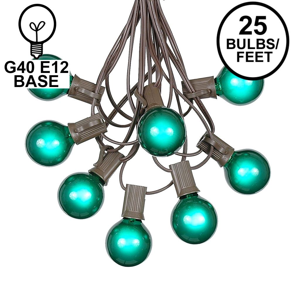 Picture of 25 G40 Globe String Light Set with Green Satin Bulbs on Brown Wire