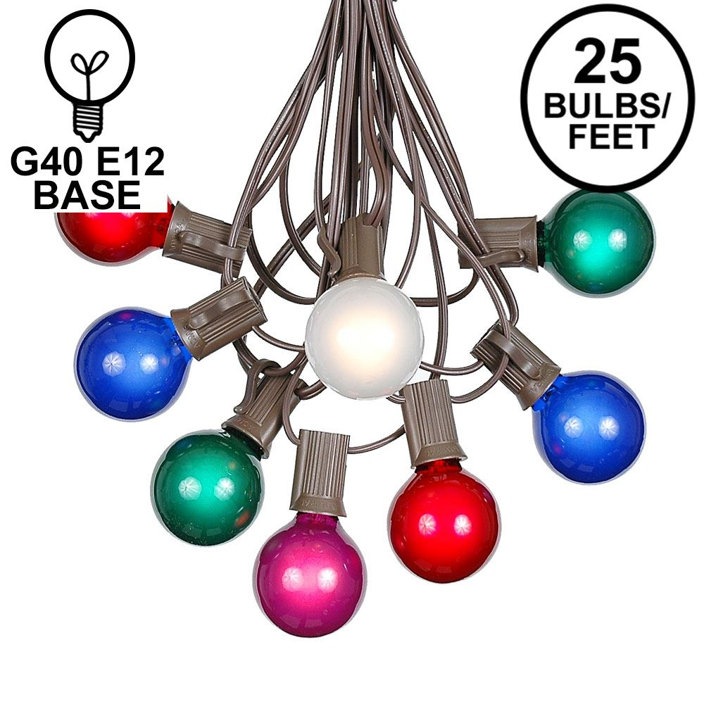 Picture of 25 G40 Globe String Light Set with Multi Colored Satin Bulbs on Brown Wire