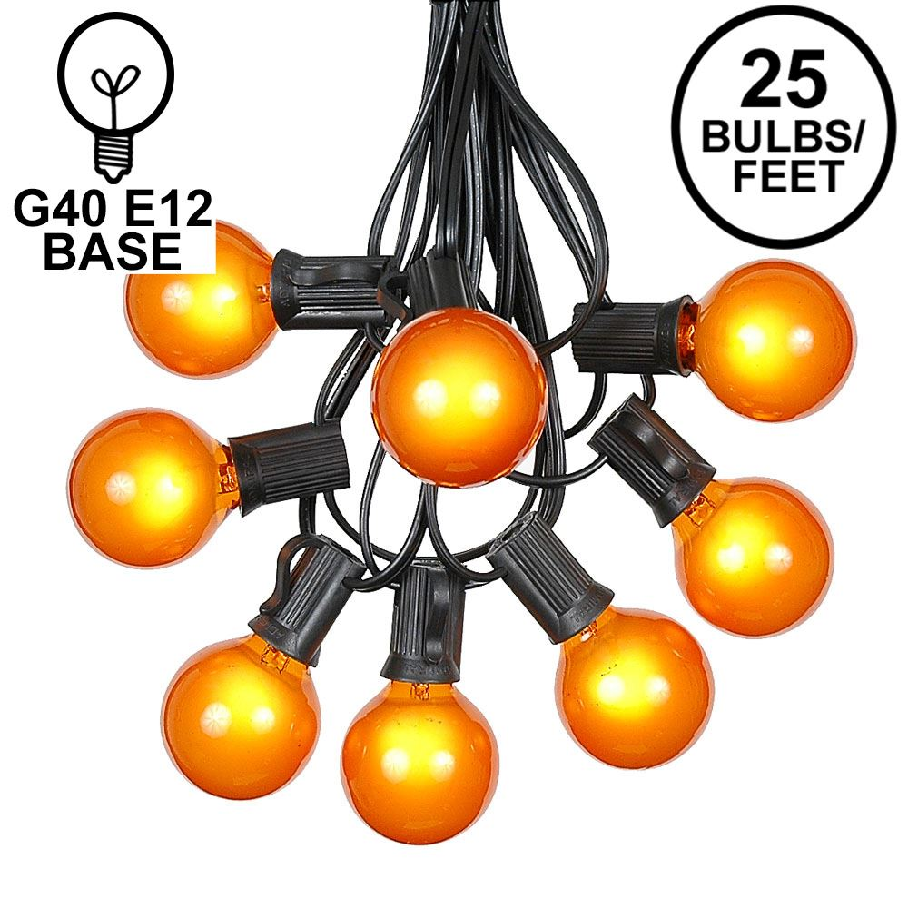Picture of 25 G40 Globe String Light Set with Orange Satin Bulbs on Black Wire