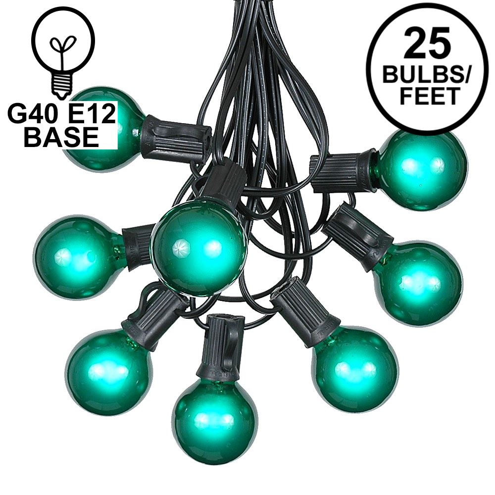 Picture of 25 G40 Globe String Light Set with Green Satin Bulbs on Black Wire
