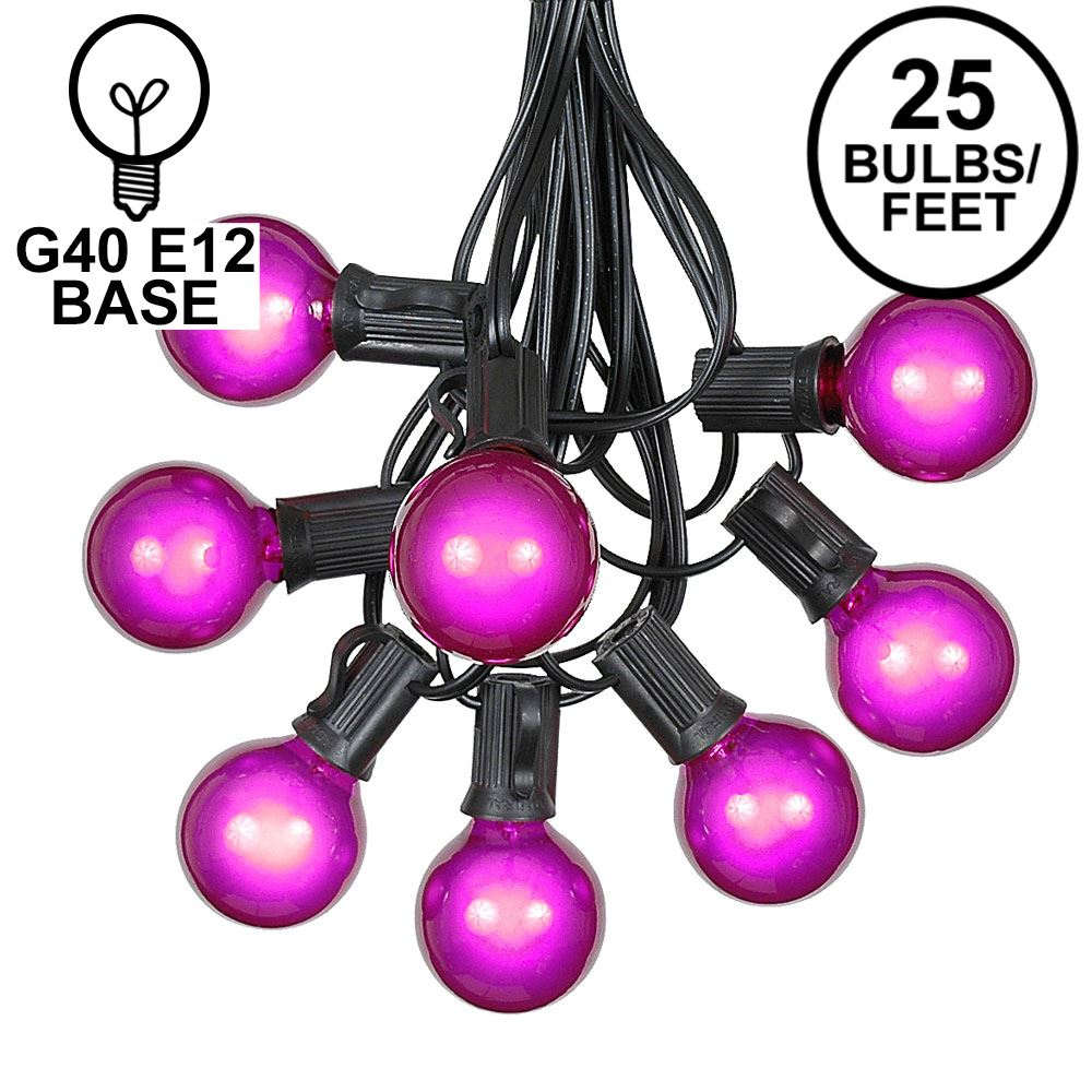 Picture of 25 G40 Globe String Light Set with Purple Satin Bulbs on Black Wire