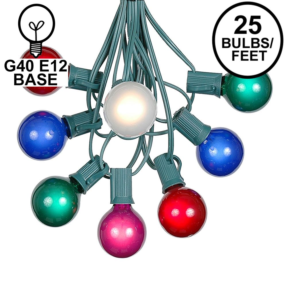 Picture of 25 G40 Globe String Light Set with Multi-Colored Satin Bulbs on Green Wire