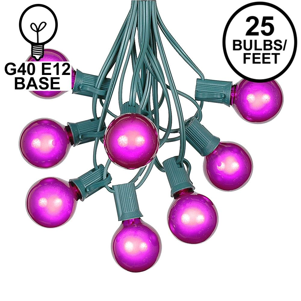 Picture of 25 G40 Globe String Light Set with Purple Satin Bulbs on Green Wire