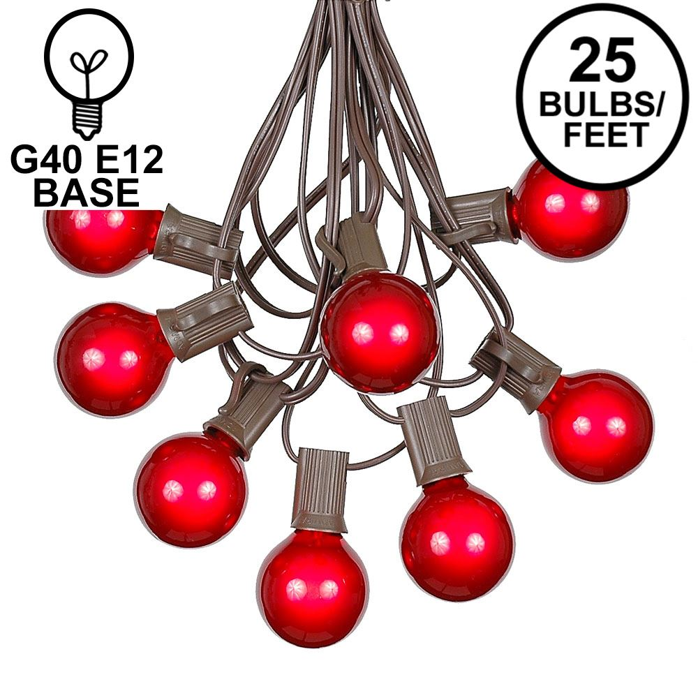 Picture of 25 G40 Globe String Light Set with Red Satin Bulbs on Brown Wire
