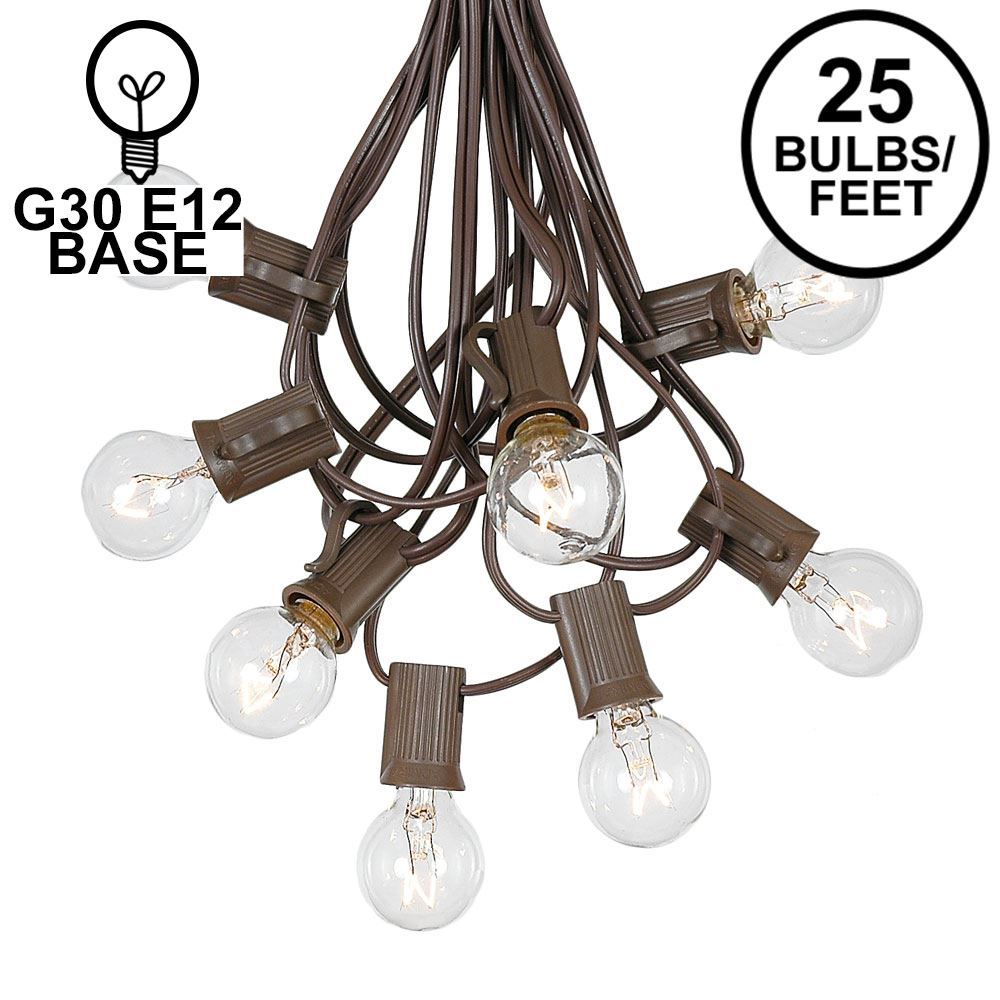 Picture of 25 G30 Globe Light String Set with Clear Bulbs on Brown Wire