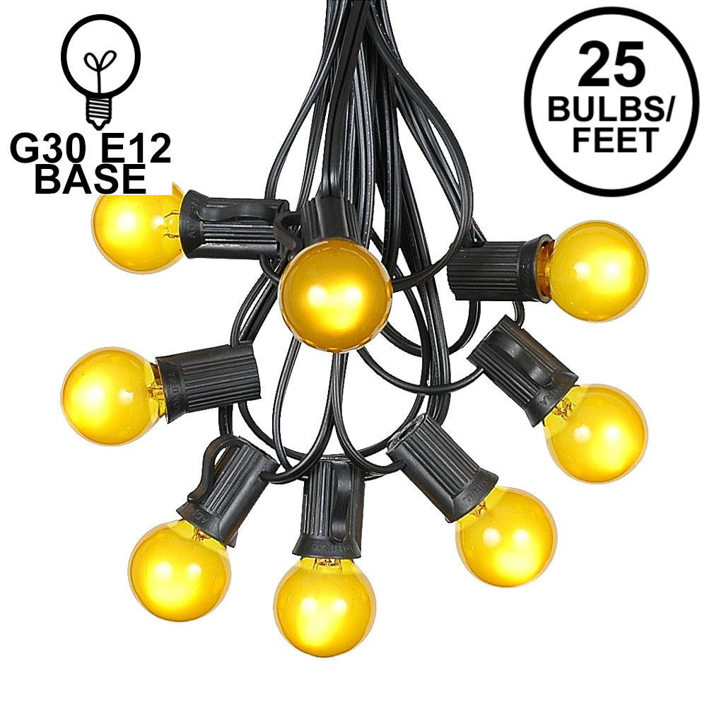 Picture of 25 G30 Globe Light String Set with Yellow Satin Bulbs on Black Wire
