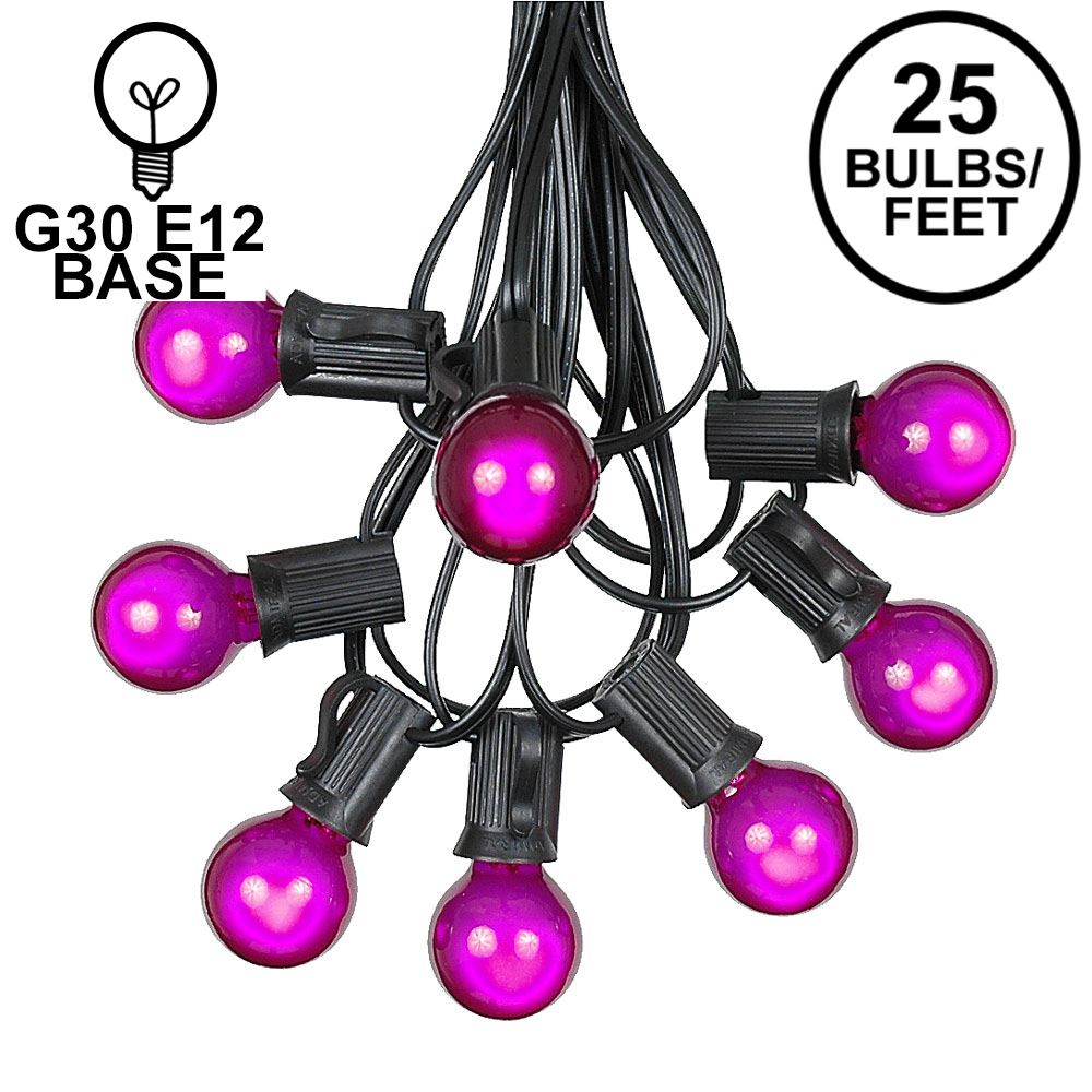 Picture of 25 G30 Globe Light String Set with Purple Satin Bulbs on Black Wire