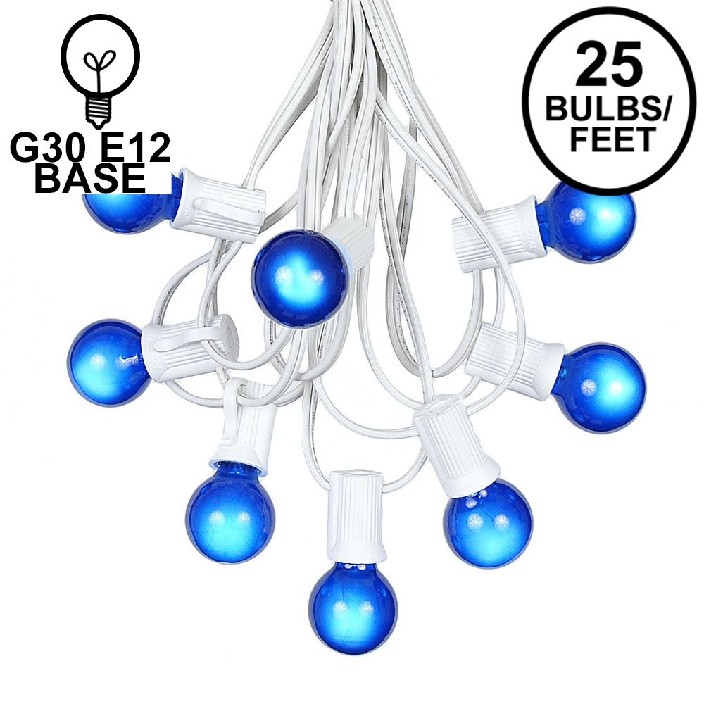 Picture of 25 G30 Globe Light String Set with Blue Satin Bulbs on White Wire