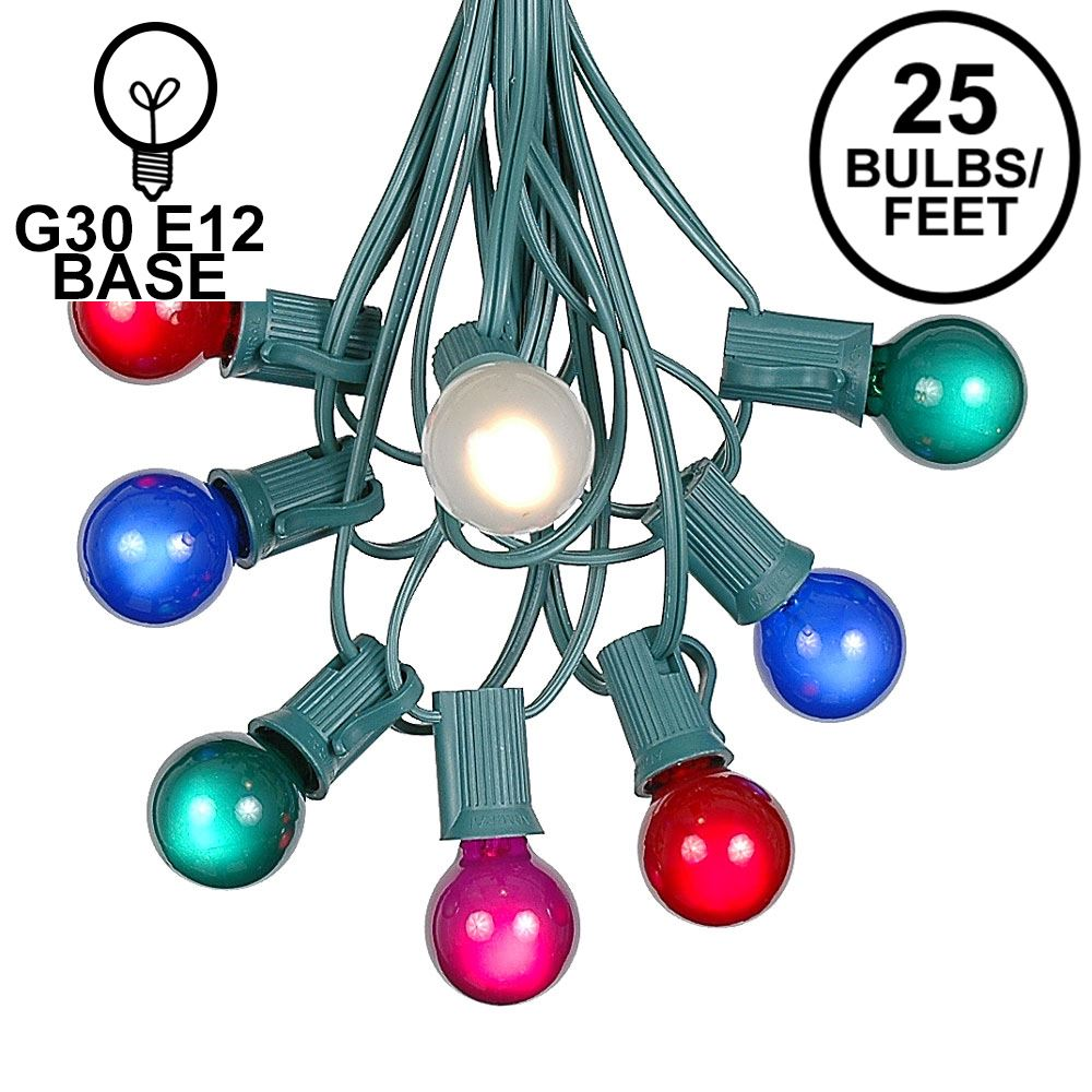 Picture of 25 G30 Globe Light String Set with Multi Satin Bulbs on Green Wire