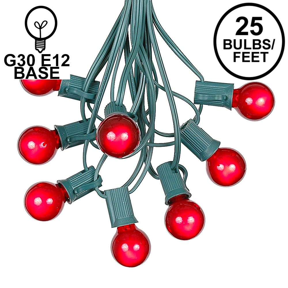 Picture of 25 G30 Globe Light String Set with Red Satin Bulbs on Green Wire