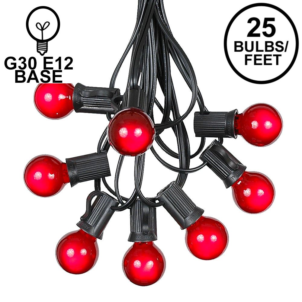 Picture of 25 G30 Globe Light String Set with Red Satin Bulbs on Black Wire