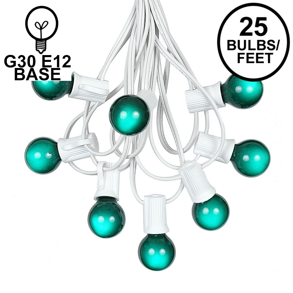 Picture of 25 G30 Globe Light String Set with Green Satin Bulbs on White Wire