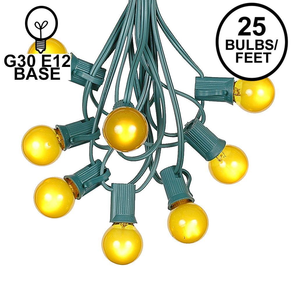 Picture of 25 G30 Globe Light String Set with Yellow/Gold Satin Bulbs on Green Wire