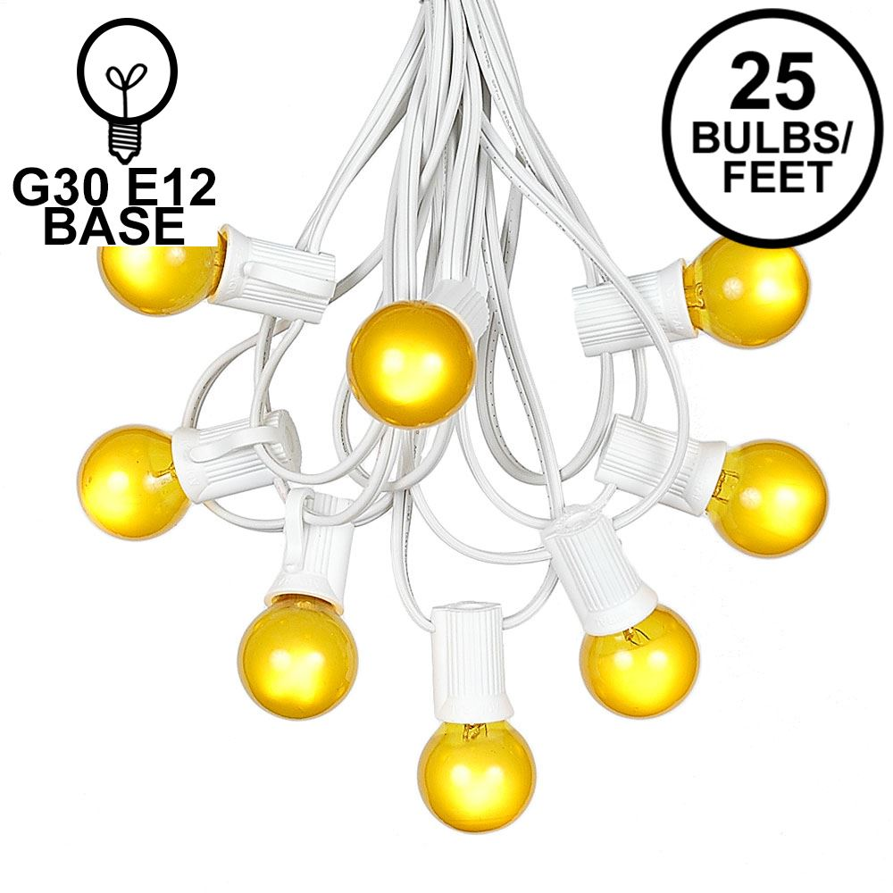Picture of 25 G30 Globe Light String Set with Yellow/Gold Satin Bulbs on White Wire
