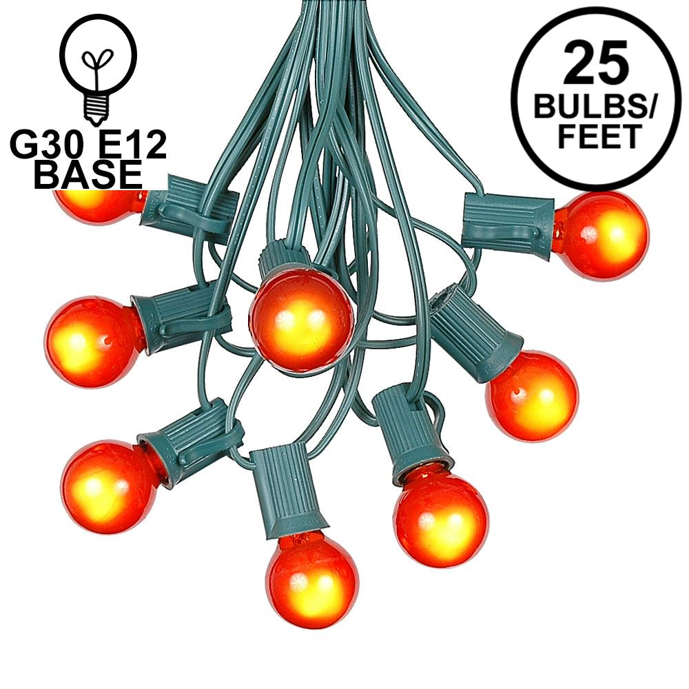 Picture of 25 G30 Globe Light String Set with Orange Satin Bulbs on Green Wire