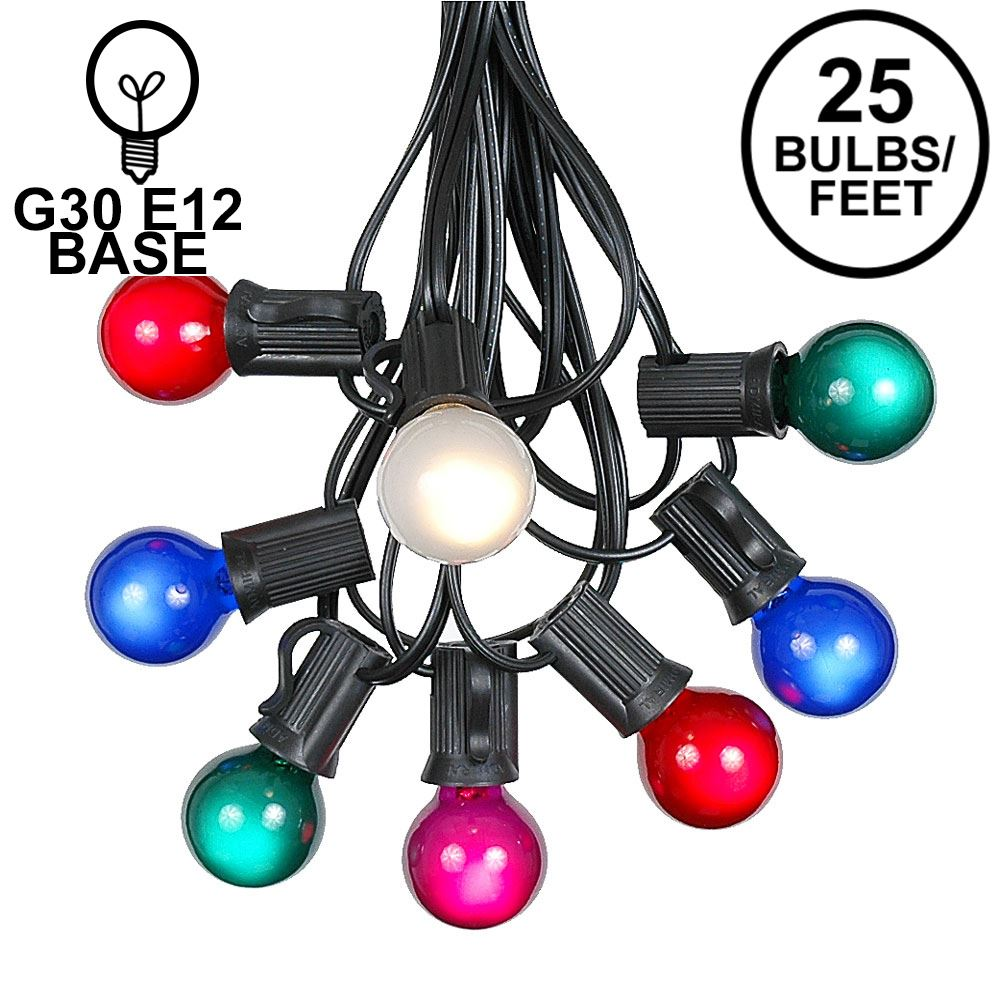 Picture of 25 G30 Globe Light String Set with Multi Colored Satin Bulbs on Black Wire